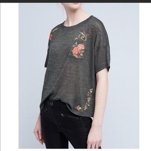 Anthropologie Akemi + Kin Embroidered Top Size M